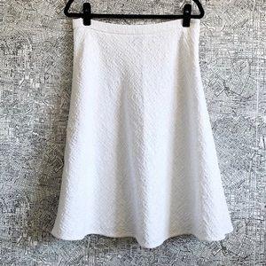 Escada White Boucle Textured Circle Midi Skirt